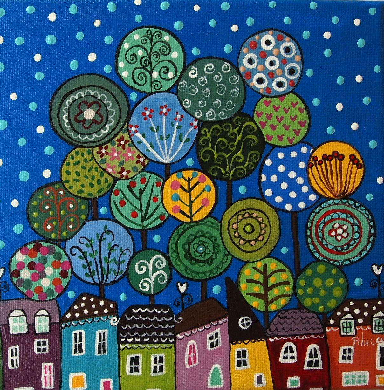 Whimsical folk art landscape circle trees, so cute! Arboles ...