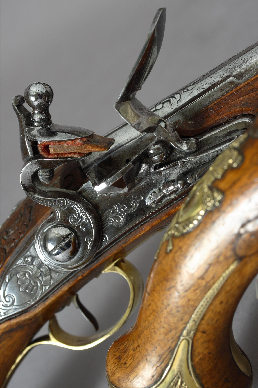 Rare And Fine Pair Of Dutch Flintlock Holster Pistols - http://www.snaphaunce.com/catalogue/rare-and-fine-pair-of-dutch-flintlock-holster-pistols/
