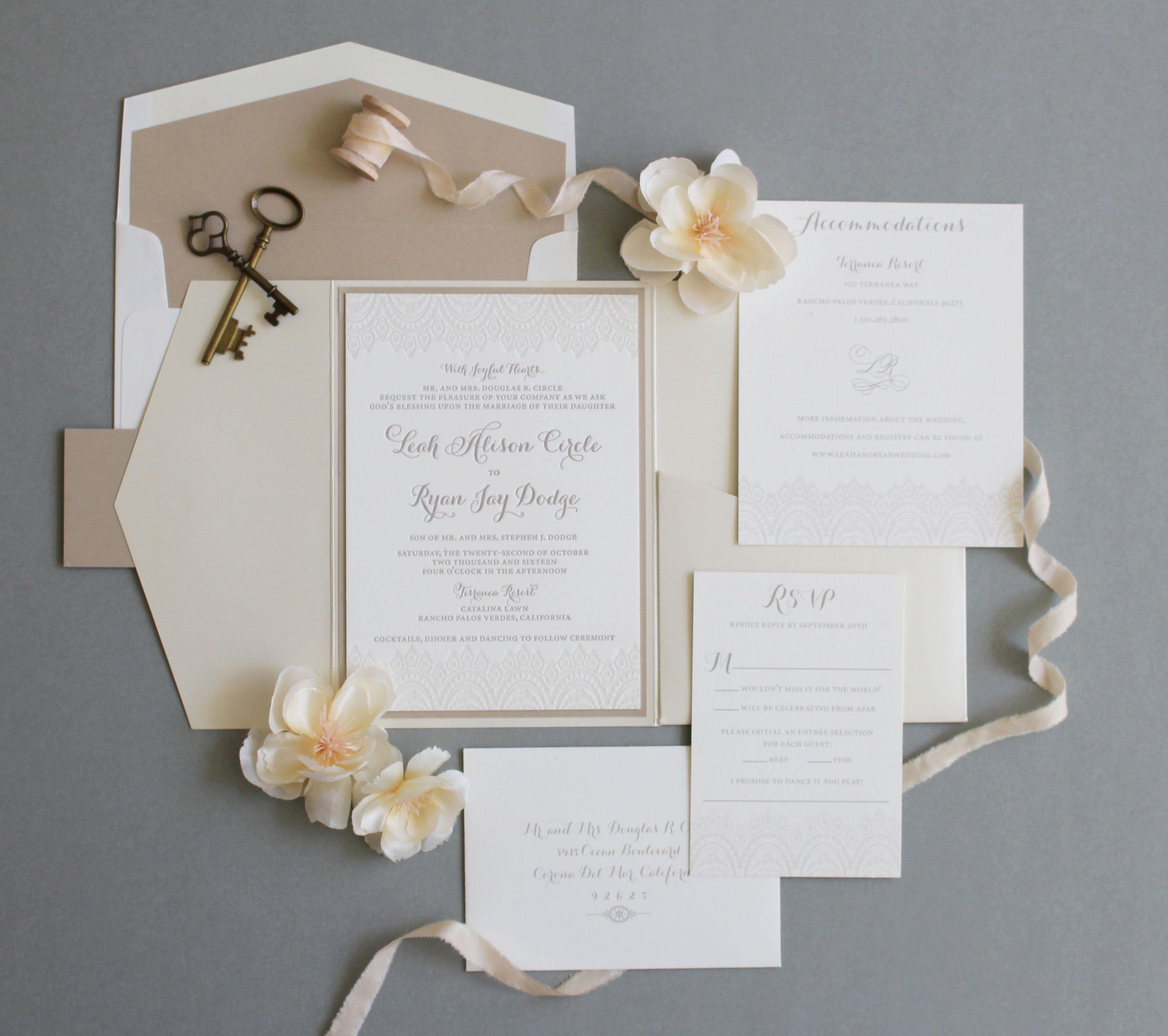 Romantic lace pocket fold wedding invitation. #wedding ...