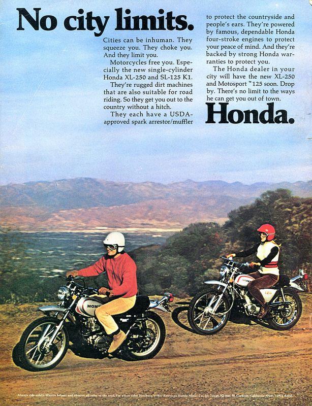 1972 Honda XL-250 SL-125 Motorcycle Advertisement Hot Rod