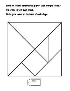 tangram pieces - math tiles   math, writing, construction