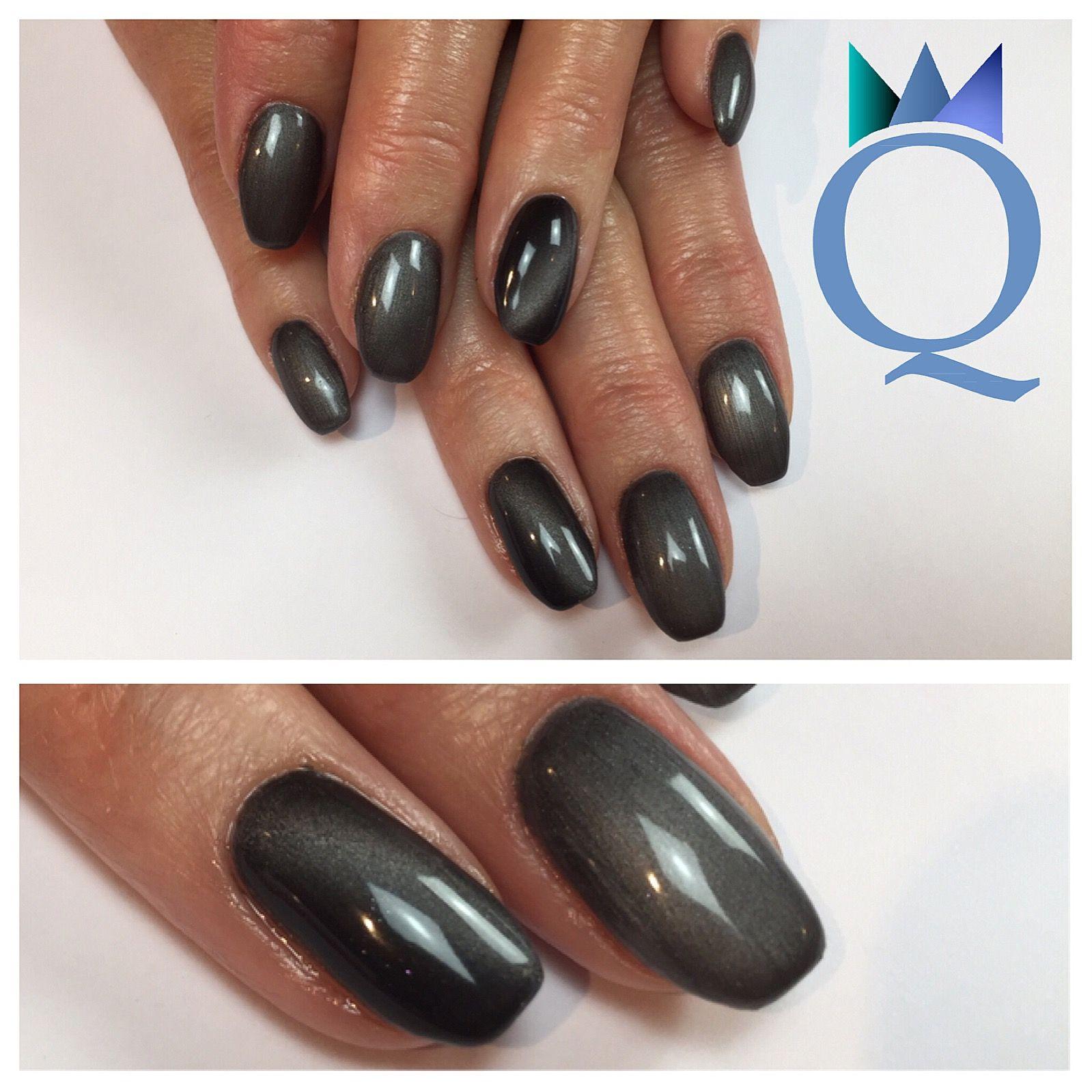 shortnails #gelnails #nails #darkgrey #cateye #akyado #kurzenägel ...