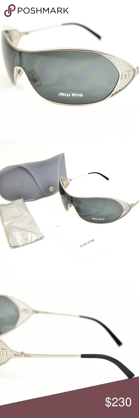 e99e6907e1 MIU MIU: Silver, Metal & Logo Shield Sunglasses s pre-owned (zoom ...
