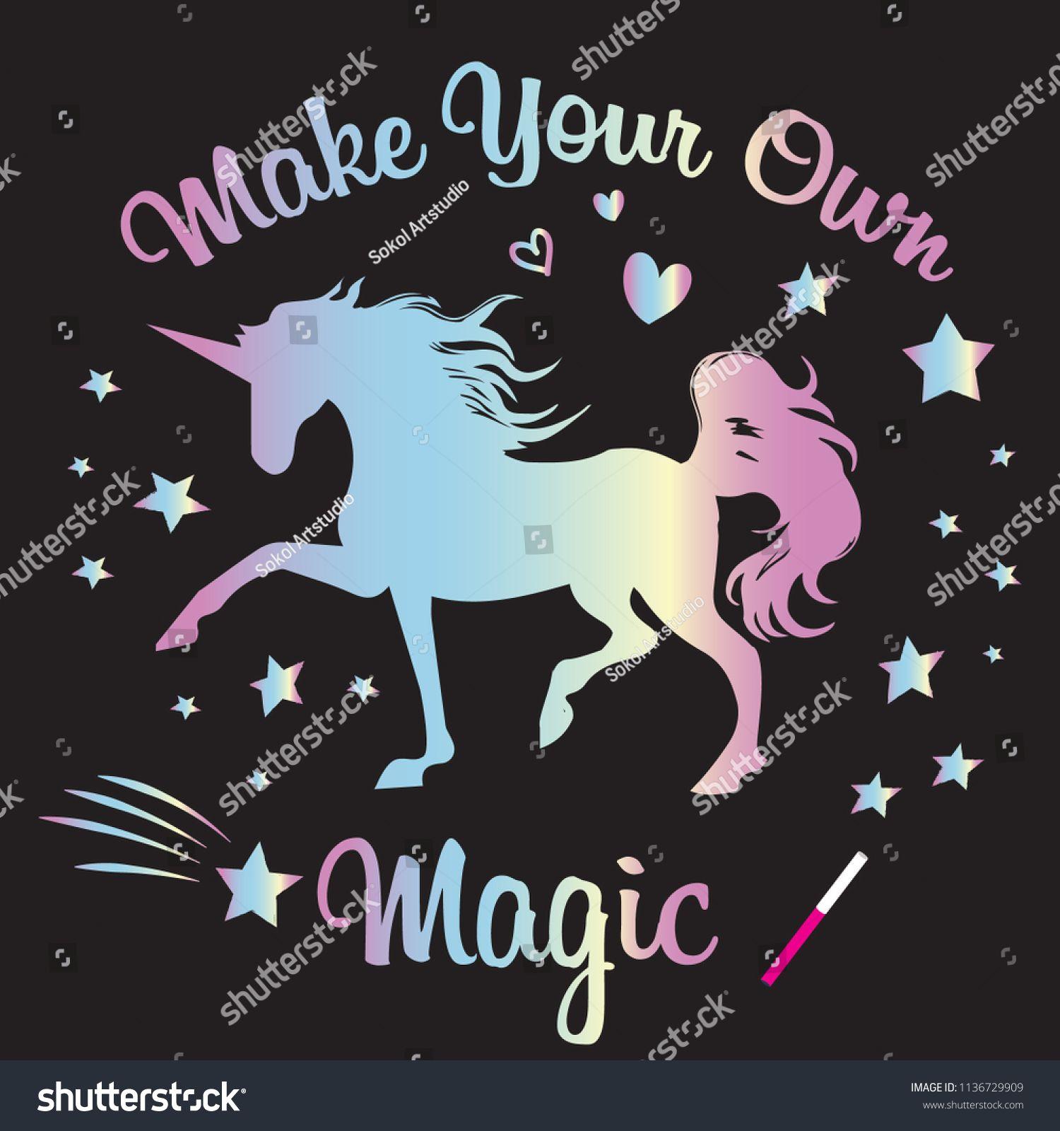 Cute Unicorn Print T Shirt Design With Original Holographic