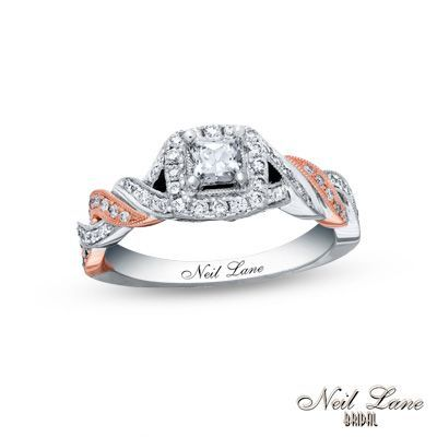 Neil Lane Bridal® Collection 3/4 CT. T.W. Princess-Cut Diamond Frame Engagement Ring in 14K Two-Tone Gold