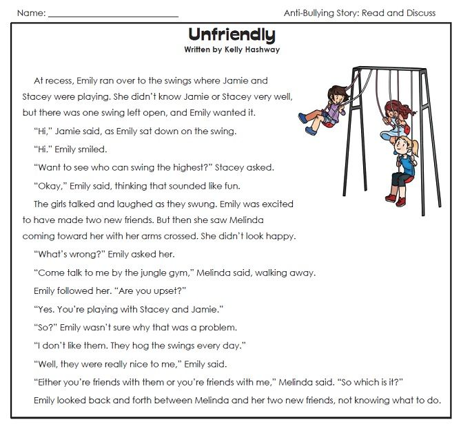 48++ Unusual bullying worksheets for elementary students Wonderful
