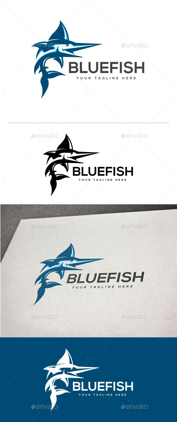 Blue Fish Logo Fish Logo Animal Logo Brand Pet Logo Design