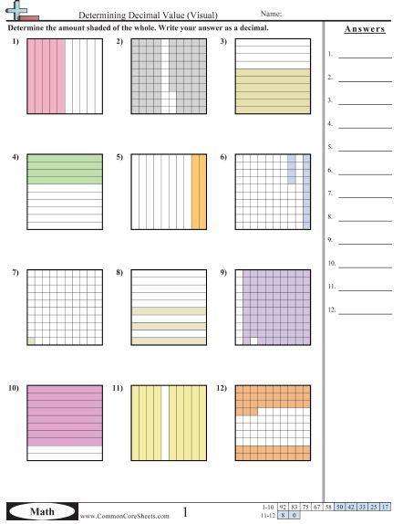Determining Decimal Value Visual Worksheet Decimals Worksheets Decimals Math Worksheets