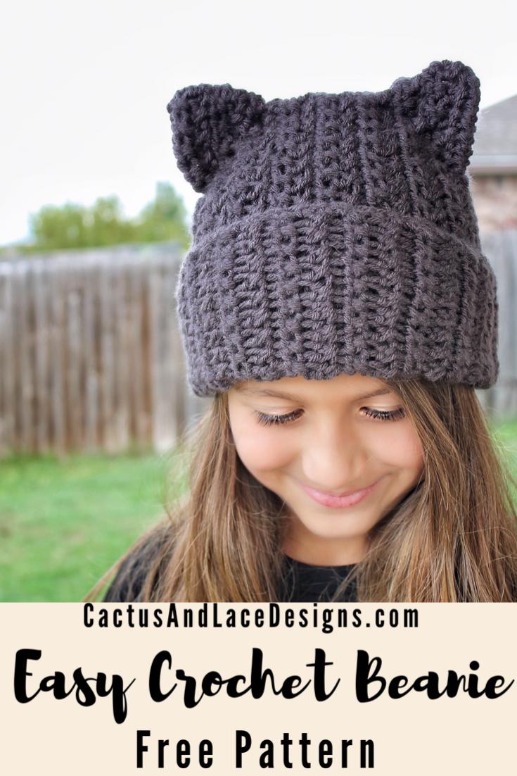 Cat Ear Beanie The Binx Kitty Hat Free Pattern Cactus Lace Designs Cat Eared Beanie Crochet Beanie Pattern Crochet Hat Pattern