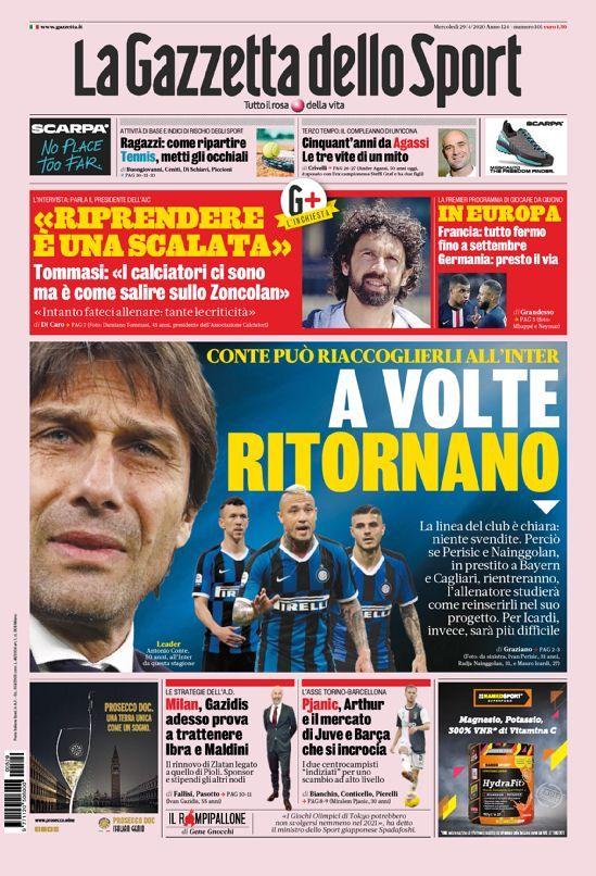 La prima pagina della Gazzetta dello Sport del 29/04/2020