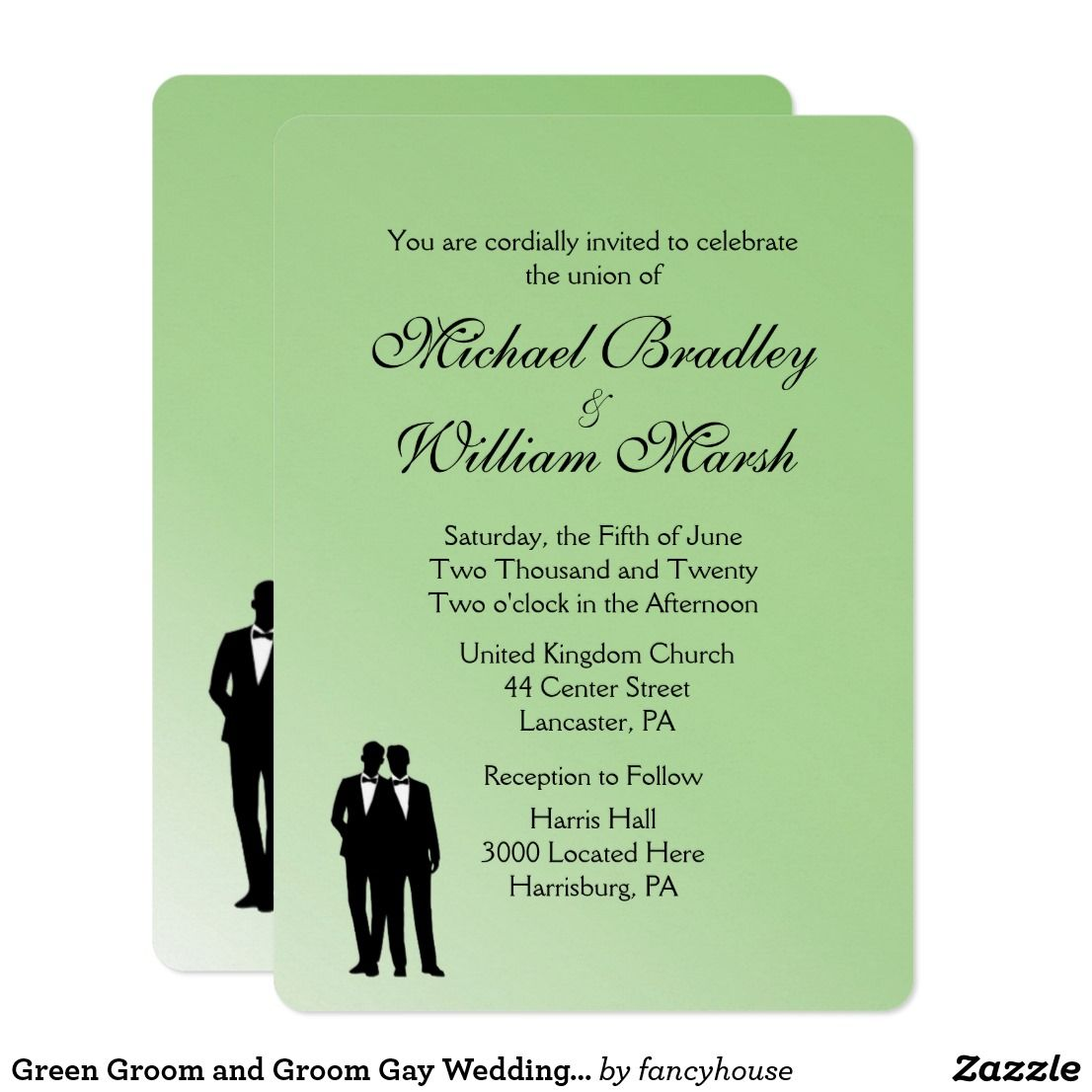 Green Groom And Groom Gay Wedding Invitation Wedding And Wedding