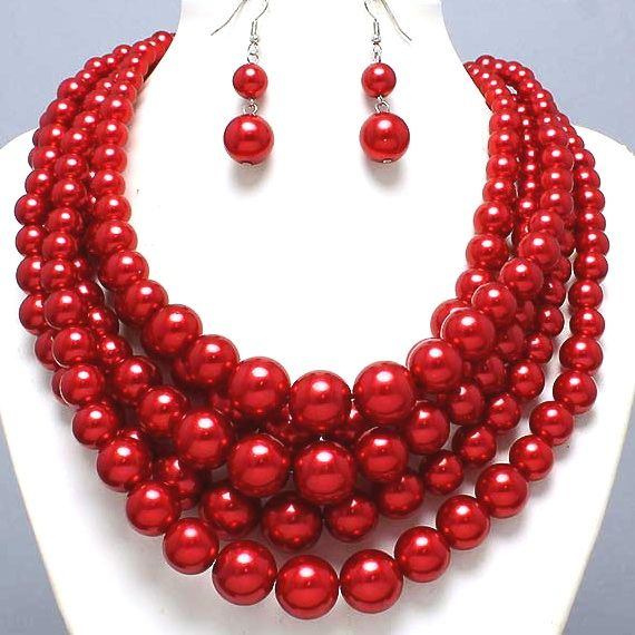 Image Detail For Bright Red Pearl Necklace Set Elegant Costume Jewelry Chunky