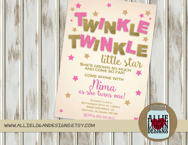 Glitter Twinkle Twinkle Little Star Birthday Invitation - Printed or ...