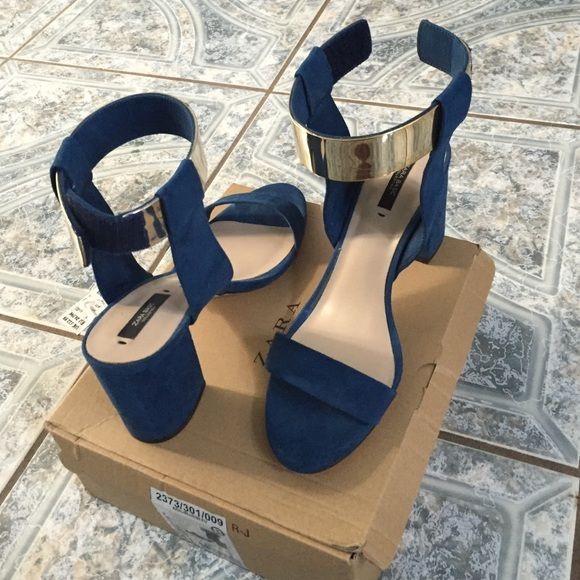 35e98085892 Royal blue short heels Faux suede mid block heel. With gold detail on ankle.  Zara Shoes Heels