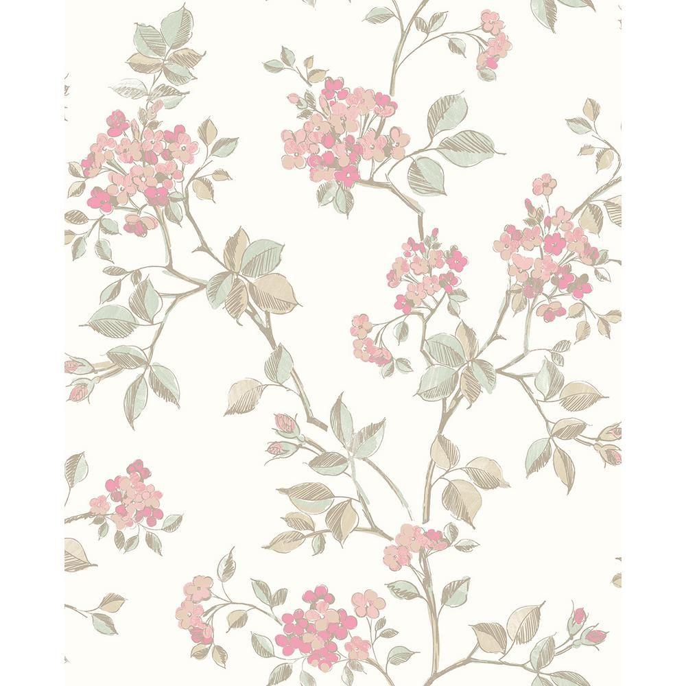 Advantage 8 In X 10 In Parry Pink Floral Wallpaper Sample Black