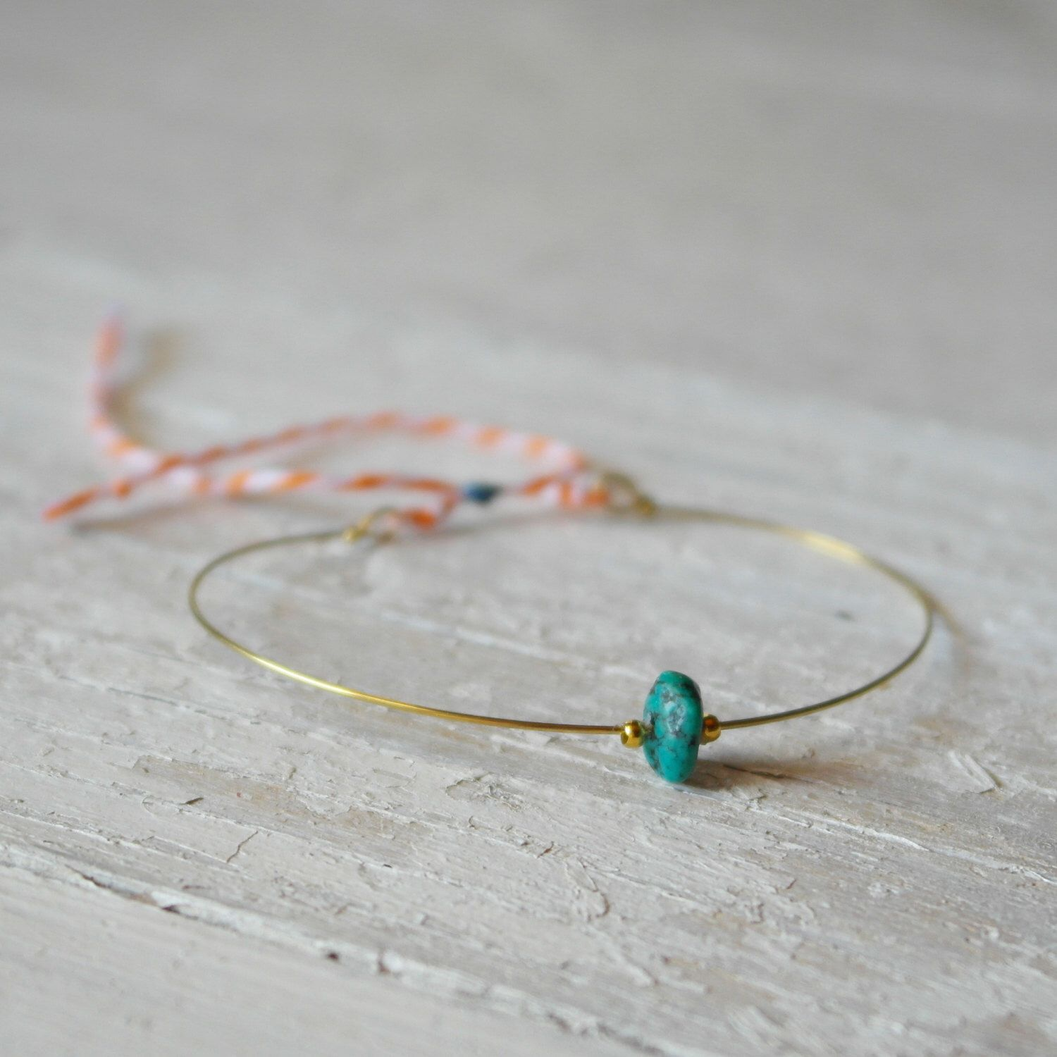 Tiny little friendship bracelet brass adjustable with an irregular green turquoise - AME by AMEjewels on Etsy https://www.etsy.com/listing/230821203/tiny-little-friendship-bracelet-brass