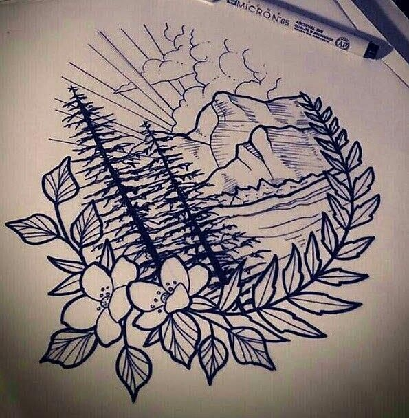 Photo of Mountain Poppy Tattoo drawing in brown ink. #thightattoos
