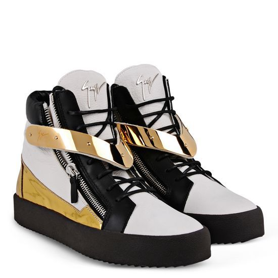 Giuseppe Zanotti - Men Sneakers High-top sneaker in black and white calfskin  leather with gold mirror patent trim and V-strap plate