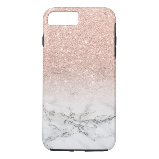 Modern faux rose pink glitter ombre white marble Case-Mate iPhone case | Zazzle.com