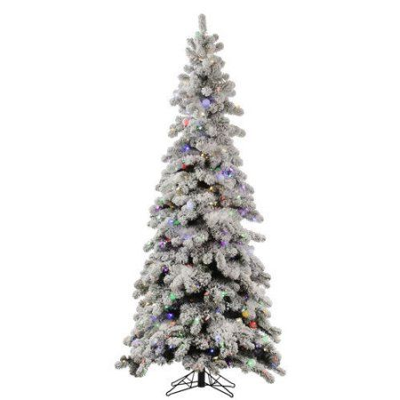 vickerman 9 medium flocked kodiak spruce artificial christmas tree with 850 warm white led lights and 75 led frosted white g40 led lights and metal base - 75 Pre Lit Christmas Tree