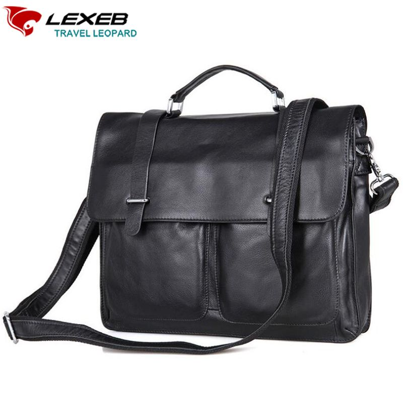Find More Crossbody Bags Information about 2016 New Lexeb Brand Design Real  Cow Leather Bag For Men Cowhide Shoulder Bags 15.6 Laptop High Quality Black  ... aede08053394a