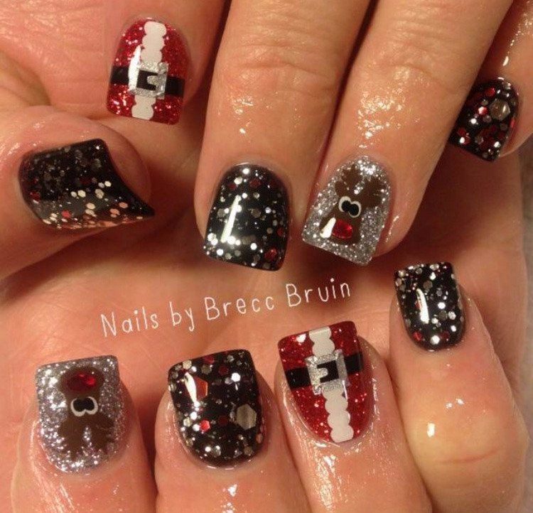 sparkle silver santa belt nail