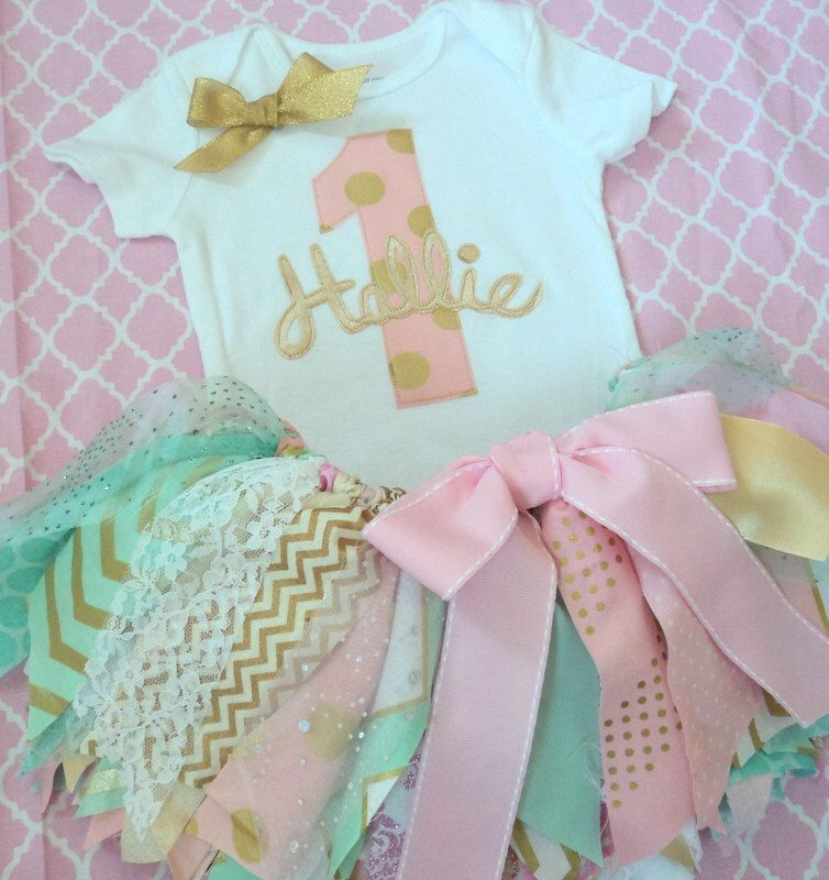 Baby Girls 1st Birthday outfit, Pink mint aqua gold fabric tutu One, 2nd, 3rd personalized name, cake smash girls , baby onesie, First by RockabyeJoss on Etsy https://www.etsy.com/listing/240919348/baby-girls-1st-birthday-outfit-pink-mint