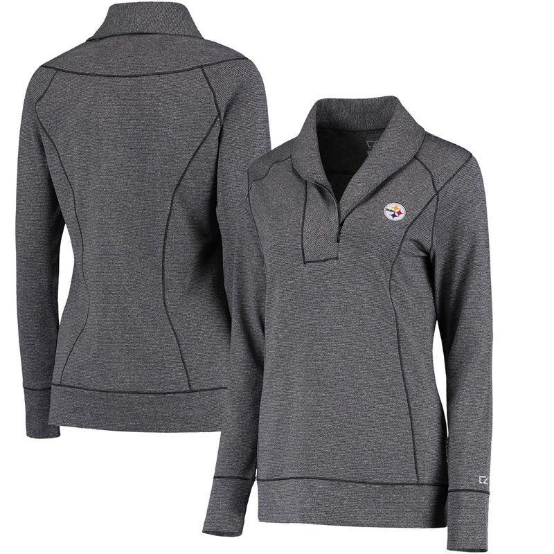 Pittsburgh Steelers Cutter & Buck Women's Shoreline Half-Zip DryTec Jacket - Charcoal