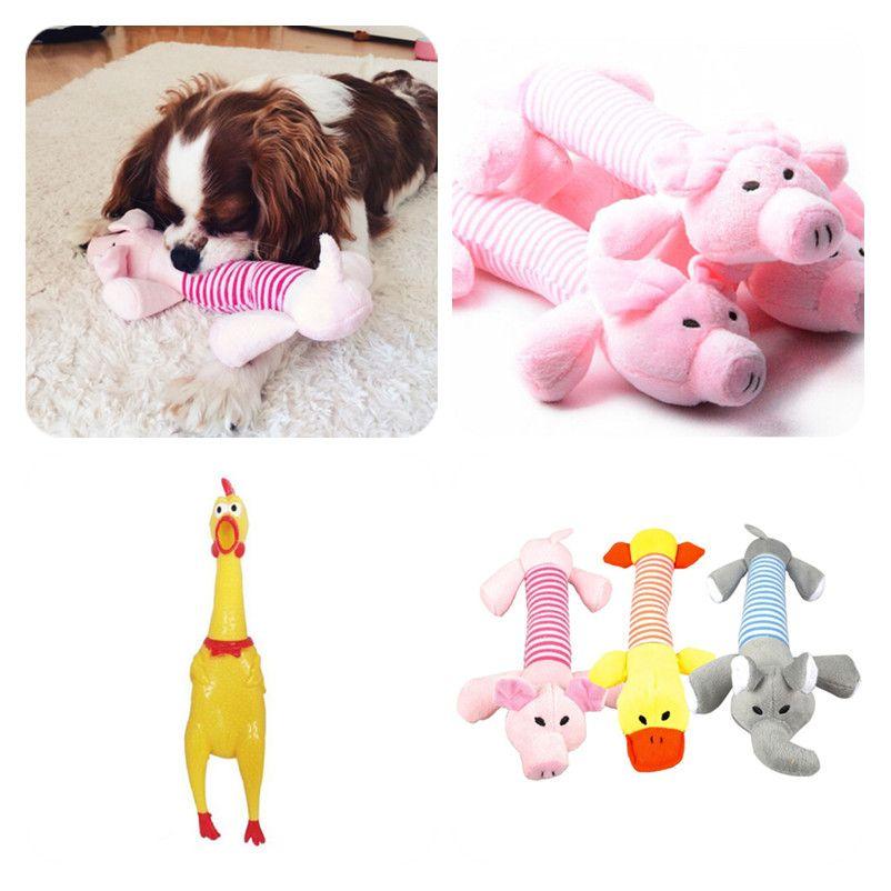 1pc Plush Rubber Dog Chew Squeak Toys Pig Elephant Duck Pet Rope