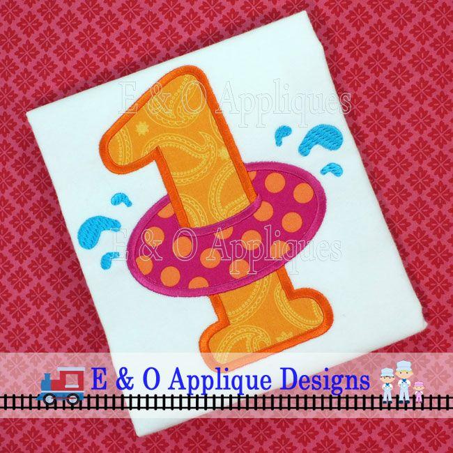 Inner Tube Birthday 1 Applique Design