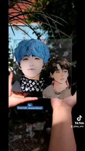Photo of Suga and Jungkook Glass painting