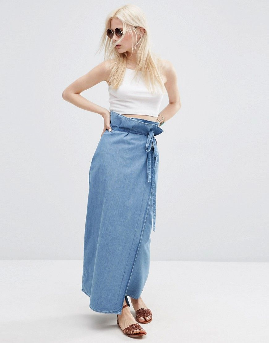 Asos denim wrap maxi skirt jeans arenut just blue you know