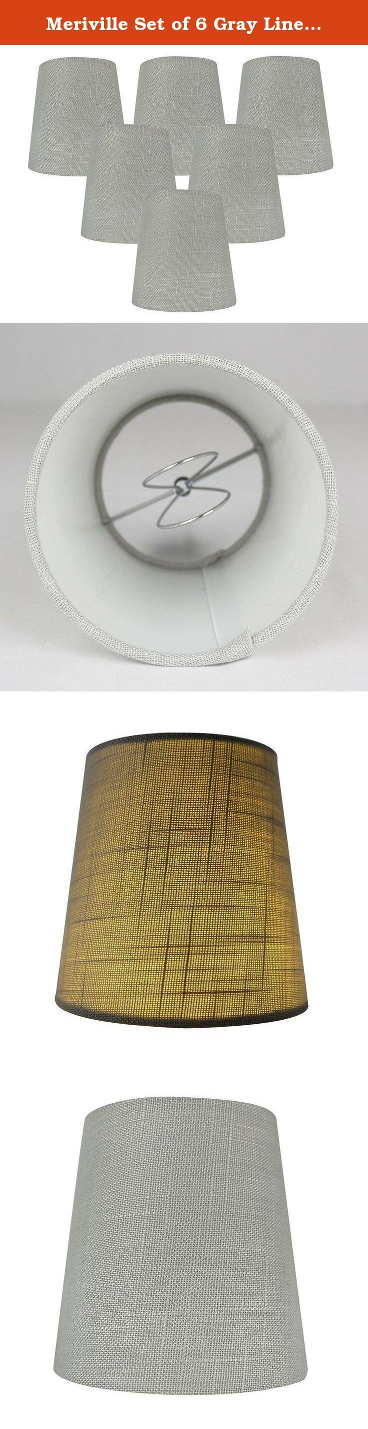 Meriville Set of 6 Gray Linen Clip Chandelier Lamp Shades 3 5