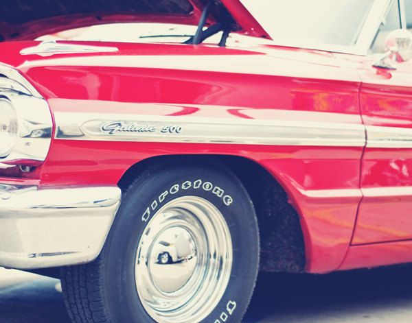 Ford Galaxie 500 Classic Car In Cherry Red   Fine Art Photography Print    Car Show Masculine Teen Boy Bedroom Home Decor Photo