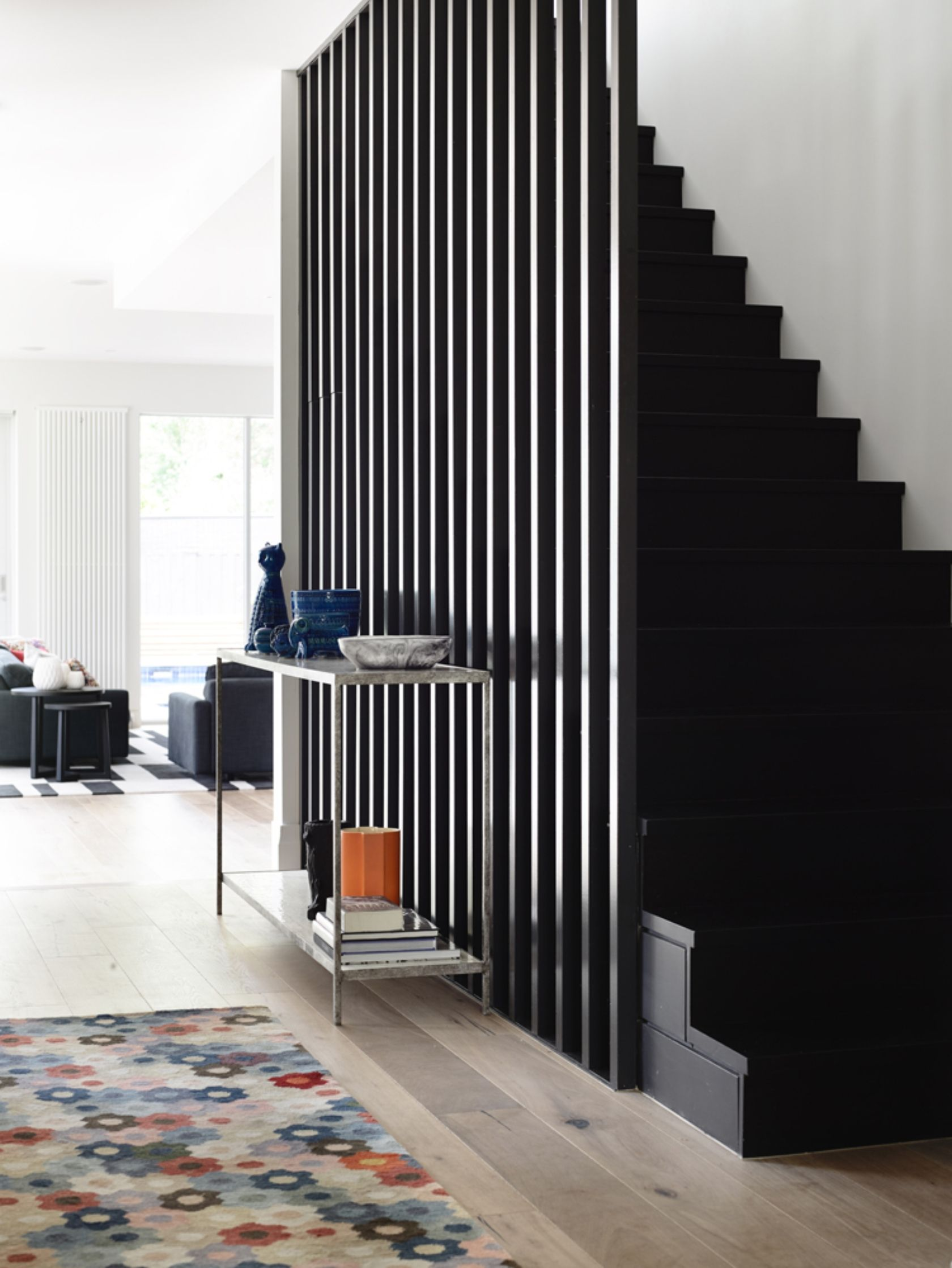 Home interior design staircase design details austere modern design with a dash of colorful fun