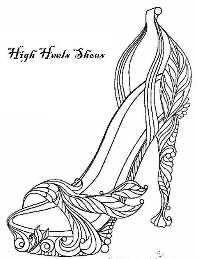 Modern High Heels Coloring Page Shoes | shoes coloring page | Pinterest