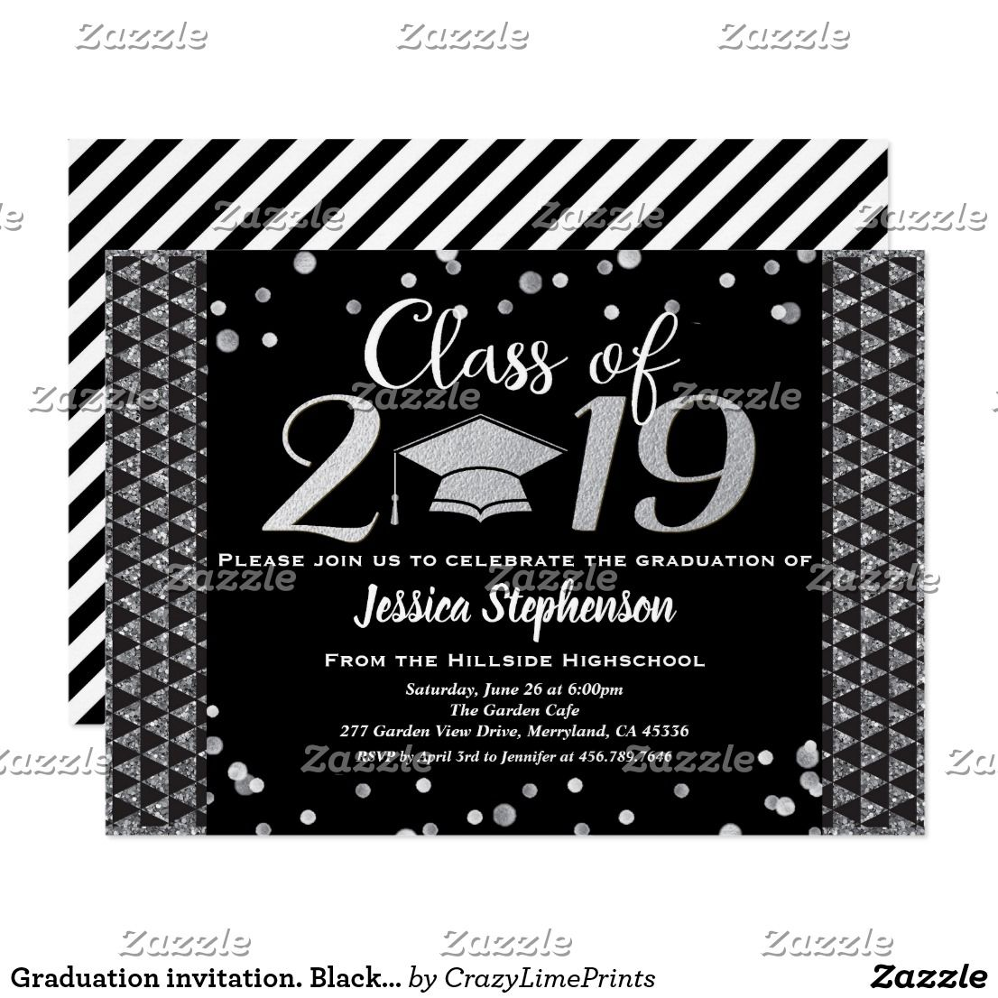 Graduation invitation. Black and faux silver Invitation | Zazzle.com | Graduation  invitations, Silver invitation, Elegant invitations