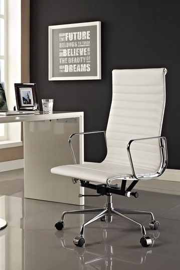 Modway Ribbed High Back Office Chair In White Genuine Leather