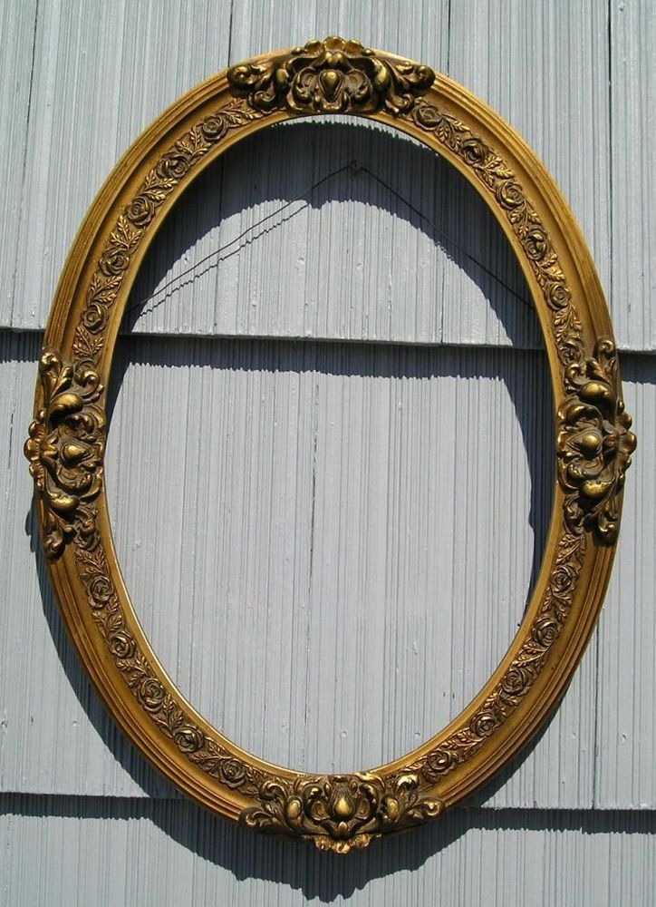 Antique Aesthetic Victorian Ornate Oval Picture Frame Curved Glass ...