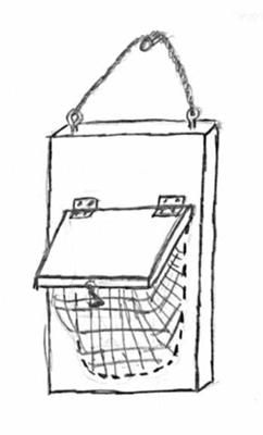 George's Suet Feeder, simple and effective. http://www.the-scoop-on-wild-birds-and-feeders.com/bird-feeder-plans.html