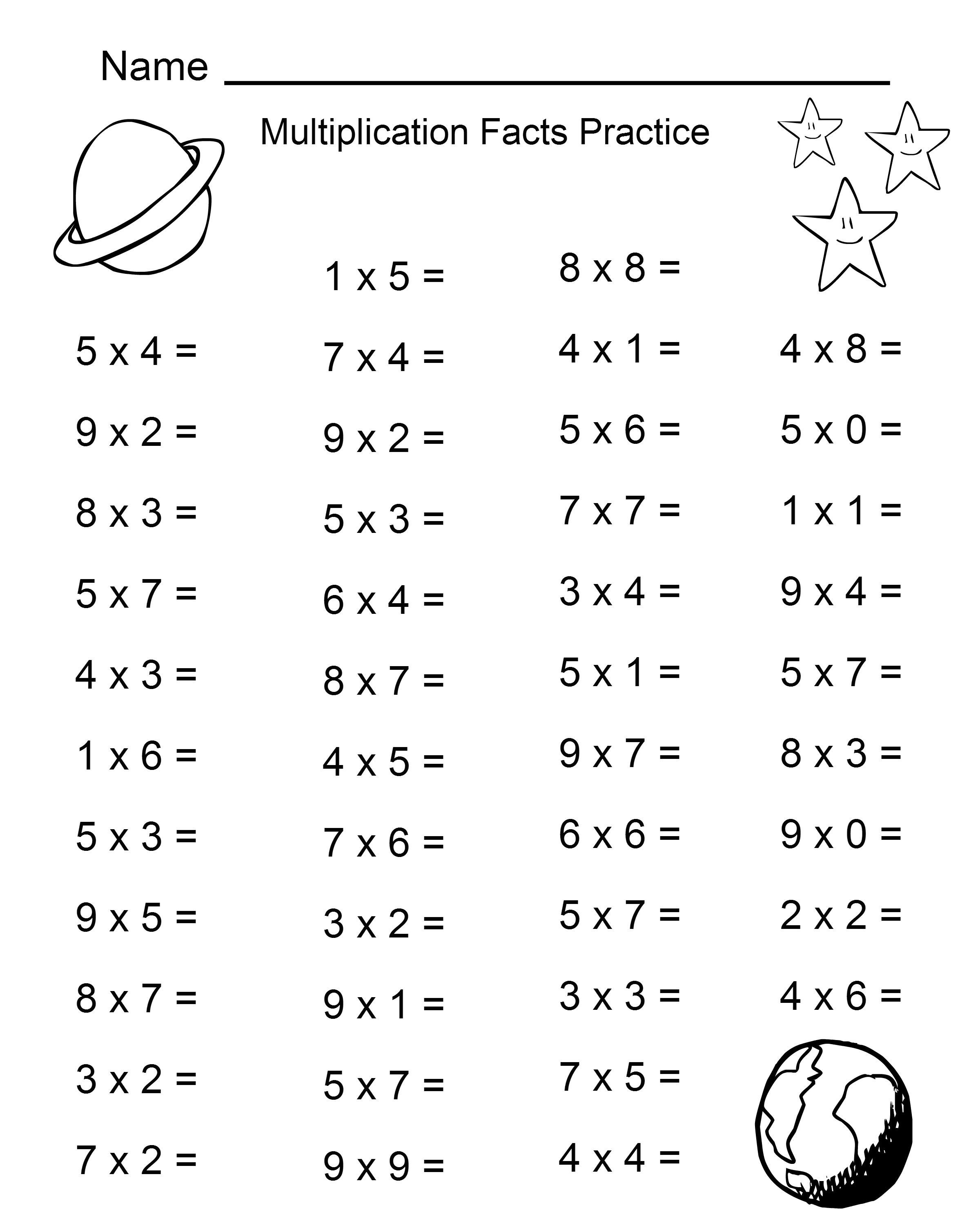Multiplication Worksheets For Students