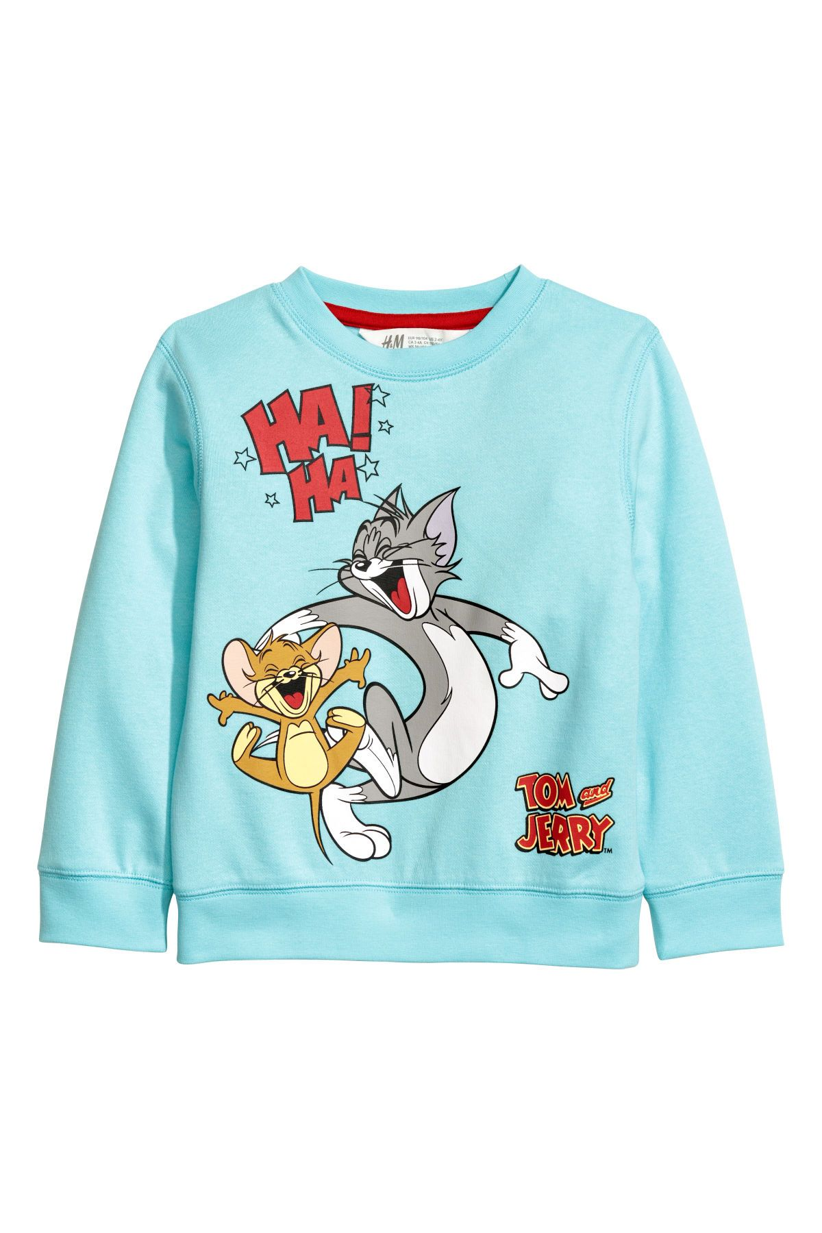 Turquoise Tom And Jerry Sweatshirt With A Printed Design Ribbing At Neckline Cuffs And Hem Soft Brushed Inside Kids Outfits Tomboy Shirts Sweatshirts [ 1800 x 1200 Pixel ]