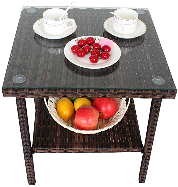 Wicker Rattan Outdoor Coffee Side Table with Tempered