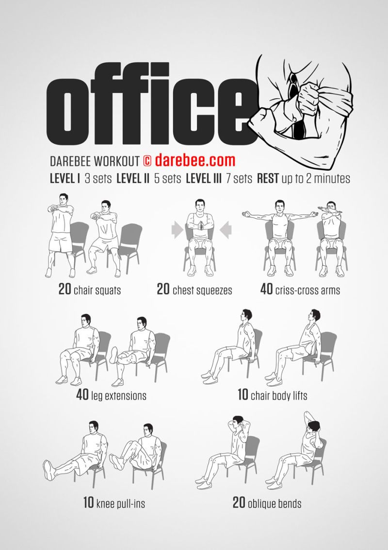 Office Chair Exercises Herman Miller Aeron Sizes A Full Body Workout You Can Do In Your Be Healthy Even If Work Piles Up The Don T Have To Completely Shove Aside Taking Care Of Fitness This Quick From Darebee