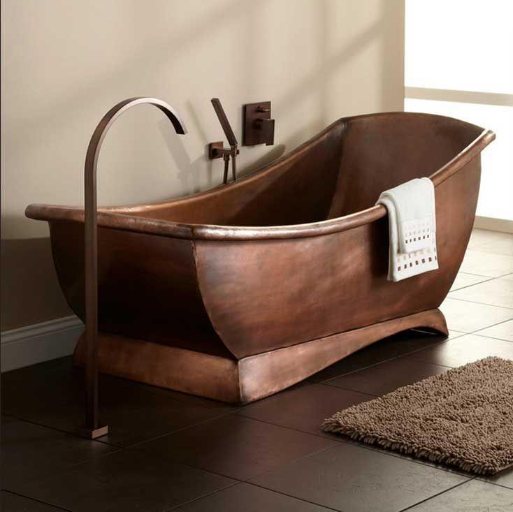Freistehende-badewanne-antik-aus-kupfer-patina-finish-mit-rechteck ... Freistehende Badewanne Designs Ideen