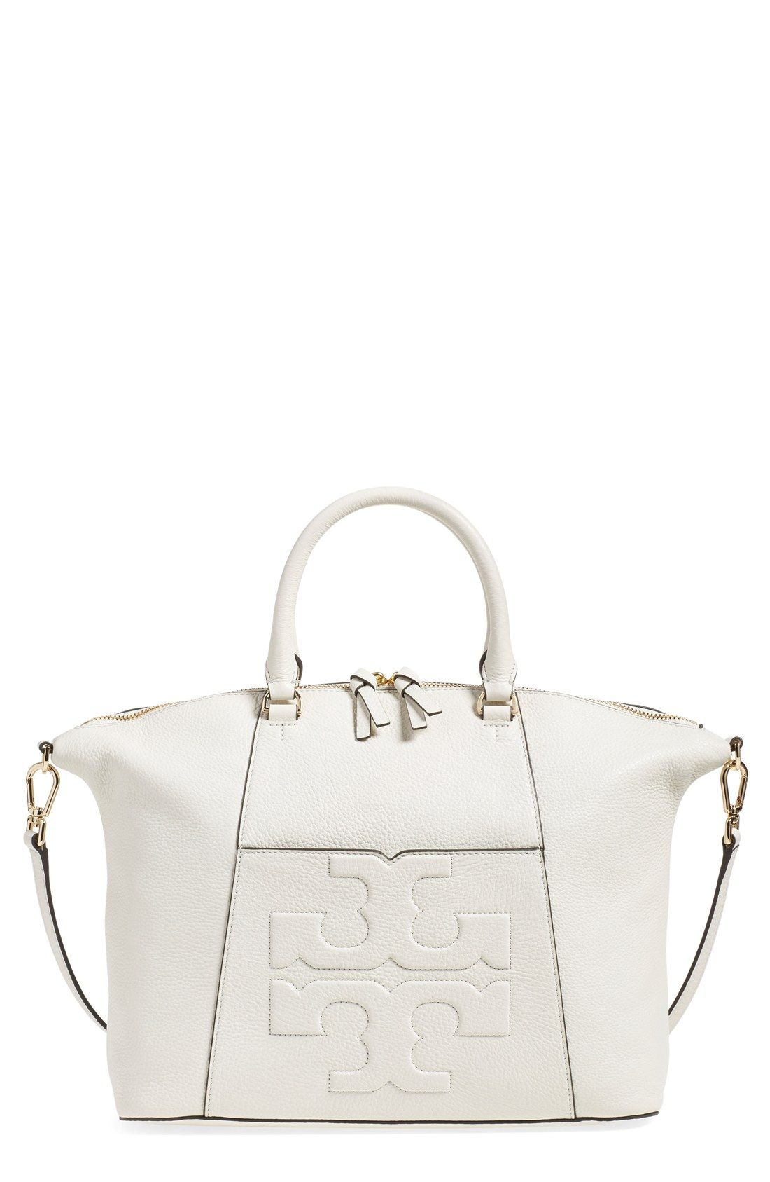 13aad6310c7b Adoring this slightly slouchy satchel from Tory Burch. In crisp white  leather