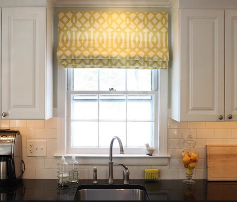 Roman Shade Over A Kitchen Sink Kitchen Window Treatments Modern Kitchen Window Kitchen Window Curtains