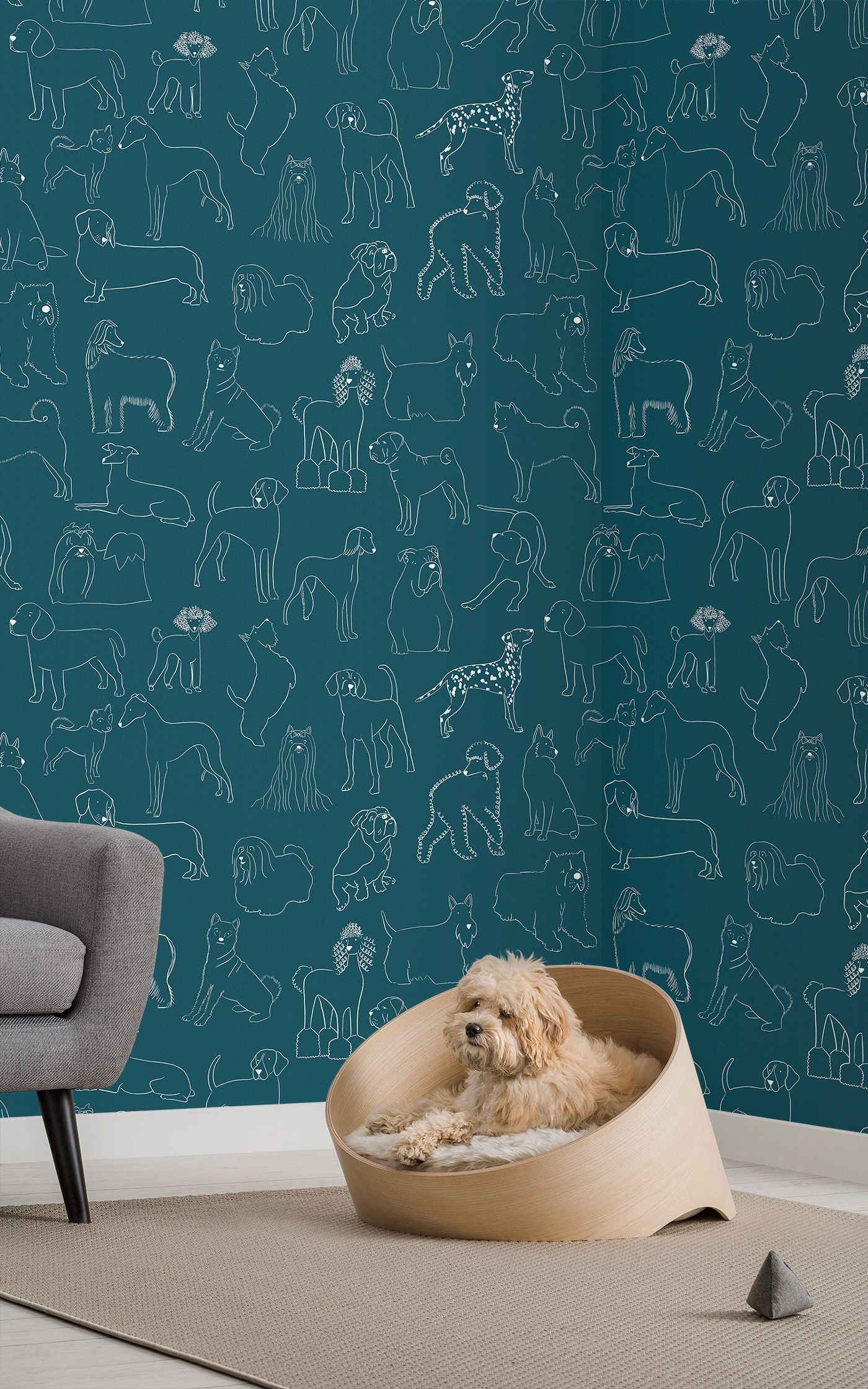 Dog Patterned Wall Coverings From Murals Wallpaper Mural Wallpaper Dog Wallpaper Wall Patterns