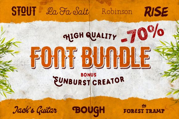 {-70%} FONT BUNDLE, 7 in 1 + Bonuses by Pavel Korzhenko on Creative Market