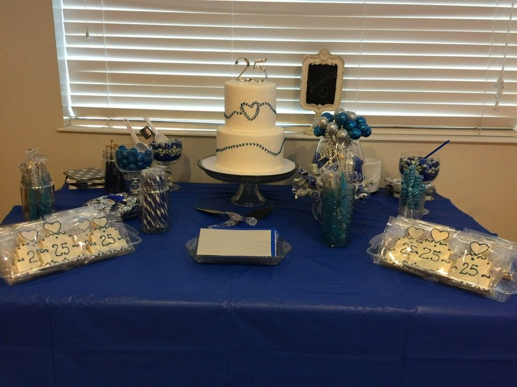Cake table 25th anniversary celebration | Table ...